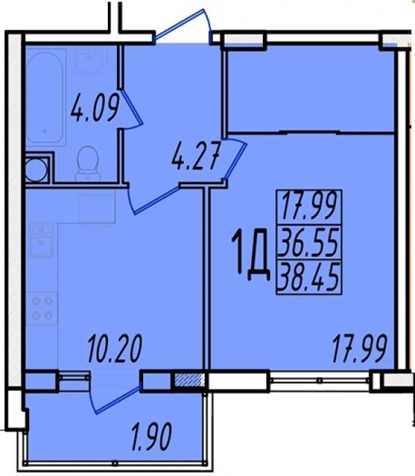 Планировки однокомнатных квартир 38.1 м^2